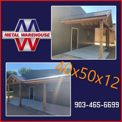 Sherman, TX - Metal Warehouse just provided the Burnish slate R-panel and Trim for this 40x50x12 Metal Building. Call and schedule your appointment for your next metal building.