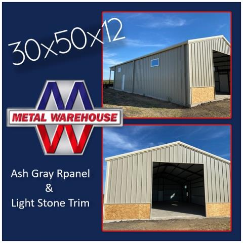 Sherman, TX - Metal Warehouse has many colors to choose from and expanding our available colors to make your metal building your own! This building is a 30x50x12 With Ash Gray R-panel and Light Stone trim. Looks awesome!! If you are looking for a metal building, Metal Warehouse has your back. Give Metal Warehouse a shout for your next metal project! #MetalWarehouse