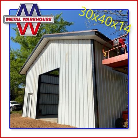 Sherman, TX - Check out this awesome right size Metal Building that Metal Warehouse provides the material for. This 30x40x14 is made with white R-panel and black Trim. Metal Warehouse offers many colors combination to chose from and make your metal building your own. Stop by 23994 West Us Highway 82 in Sherman, TX and get a free quote on your next metal project. #MetalWarehouse