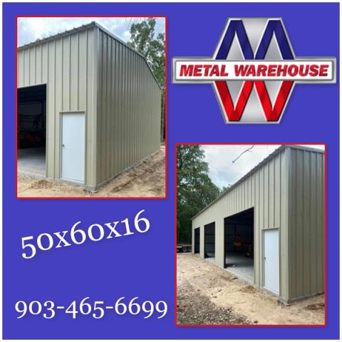 Sherman, TX - Another happy customer with his new Metal Shop build up. This 50x60x16 is made up with Light Stone R-panel and Trim... looks great! Metal Warehouse can get your Free quote on any size metal building you are thinking of. Give us a call or stop by and see us off of Hwy 82 in between Sherman, TX and Whitesboro, TX! #MetalWarehouse