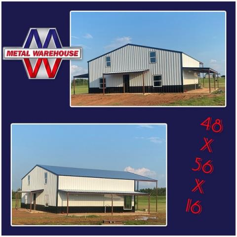 Pottsboro, TX - Metal Warehouse is here for all your metal needs. Check out this Barndo 48x56x16 going up in Pottsboro, TX. White and Black R-panel and Black Trim... looks great!! Metal Warehouse runs all the R-panel, Trim and Standing Seam in house. Stop by Metal Warehouse to speak with one of our building specialist and start your next metal project. #MetalWarehouse