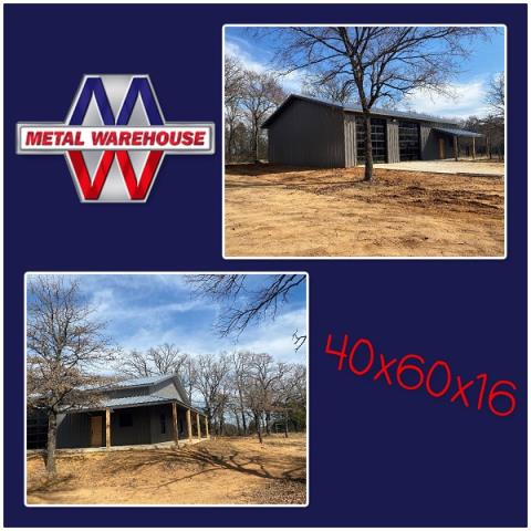 Collinsville, TX - Do you have a Barndominium in mind? Check out this 40x60x16 metal building that went up in Collinsville, TX. Metal Warehouse has everything you will need for your next metal project. We also have a list of recommended contractors that do awesome work! Give us a call or stop by and see us on 23994 west Hwy 82 in Sherman to get your next metal project done #MetalWarehouse