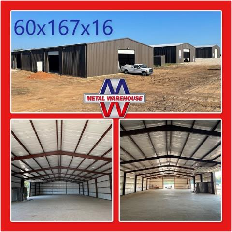Granville, OH - Metal Warehouse is here for all your Metal needs! Check out this 60'x167'x16' metal building that went up in Denison, TX. Andre Laub did an amazing job! If your in the market for a metal building, carport, or just a small work shop, come by and see us on HWY 82 in Sherman, TX 3.5 Miles West of HWY 289. Here at Metal Warehouse we offer FREE Quotes for whatever size project you have in mind. #MetalWarehouse