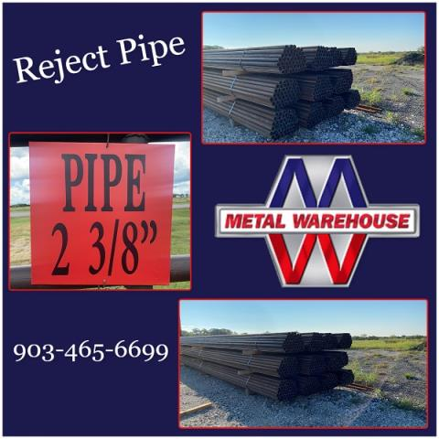 """Sherman, TX - Metal Warehouse is fully stocked with 2 3/8"""" reject pipe, come and get yours! Give us a holler for all your metal needs. Metal Warehouse also has delivery options still available! Come by and check out Metal Warehouse on Hwy 82 just about 3 miles west of Hwy 289 in between Sherman, TX & Whitesboro, TX! #MetalWarehouse"""
