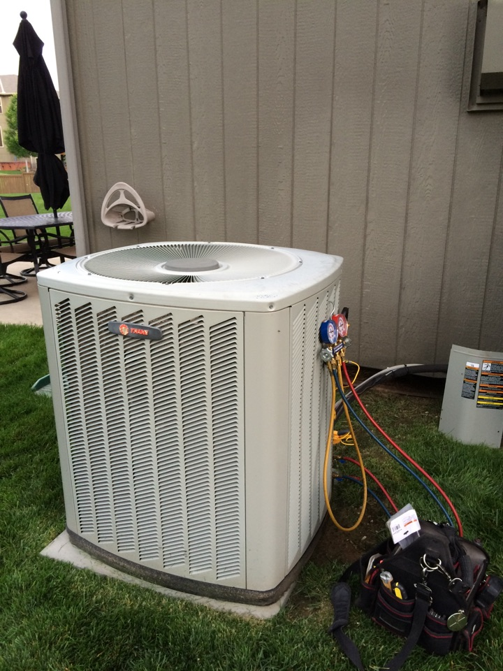 Olathe, KS - Performed AC tuneup on a 2008 transfer air conditioner. Checked R 22 Freon temperatures and pressures. Checked and tested all electrical components. Tested system operation. Washed outside condenser coil