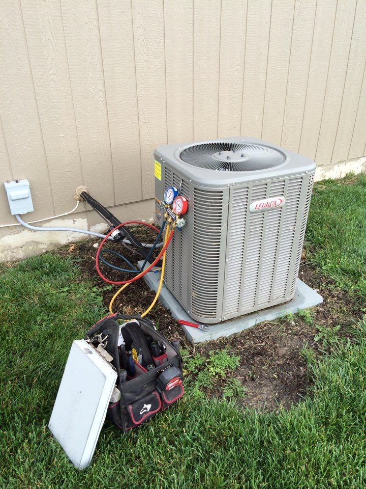 Gardner, KS - Performed tune up on 2013 Lenix air-conditioner. Tested all electrical components. Tested refrigerant R410 a Freon temperatures and pressures. Washed outside condenser unit.