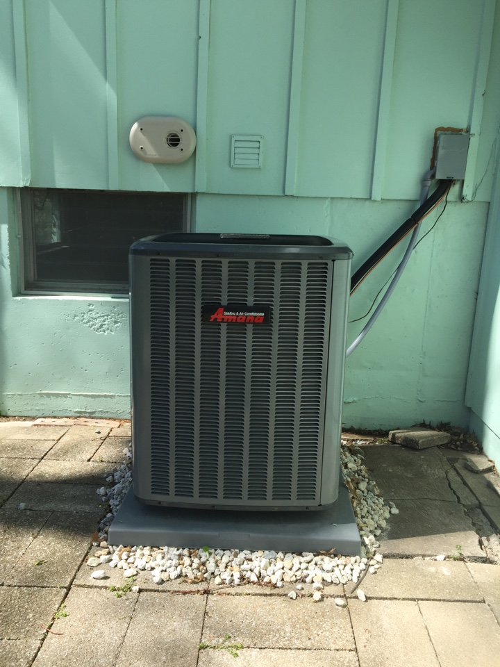 Overland Park, KS - Performed a start up on a new Amana air conditioner. Checked the thermostat and circuit breaker. Checked the Air Bear filter. Turned off the Aprilaire humidifier. Checked all of the electrical connections. Checked the Freon charge. Verified proper pressures and temperatures.