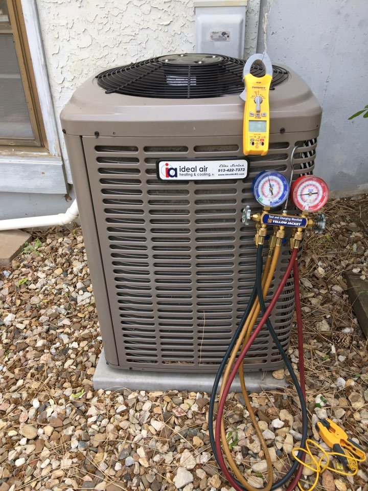Overland Park, KS - Performed tune up on to York air-conditioners. Test Freon temperatures and pressures. Test electrical wiring and connections. Tested system operation. Clean outside condensing unit.