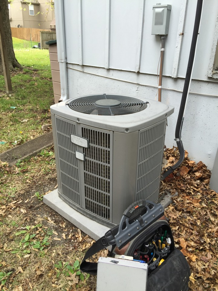 Olathe, KS - Performed tune up on 2002 American Standard air conditioner. Tested equipment operation. Checked electrical wiring and connections. Tested R22 Freon temperatures and pressures. Added Freon to bring temperatures and pressures to correct levels. Washed condensing unit.