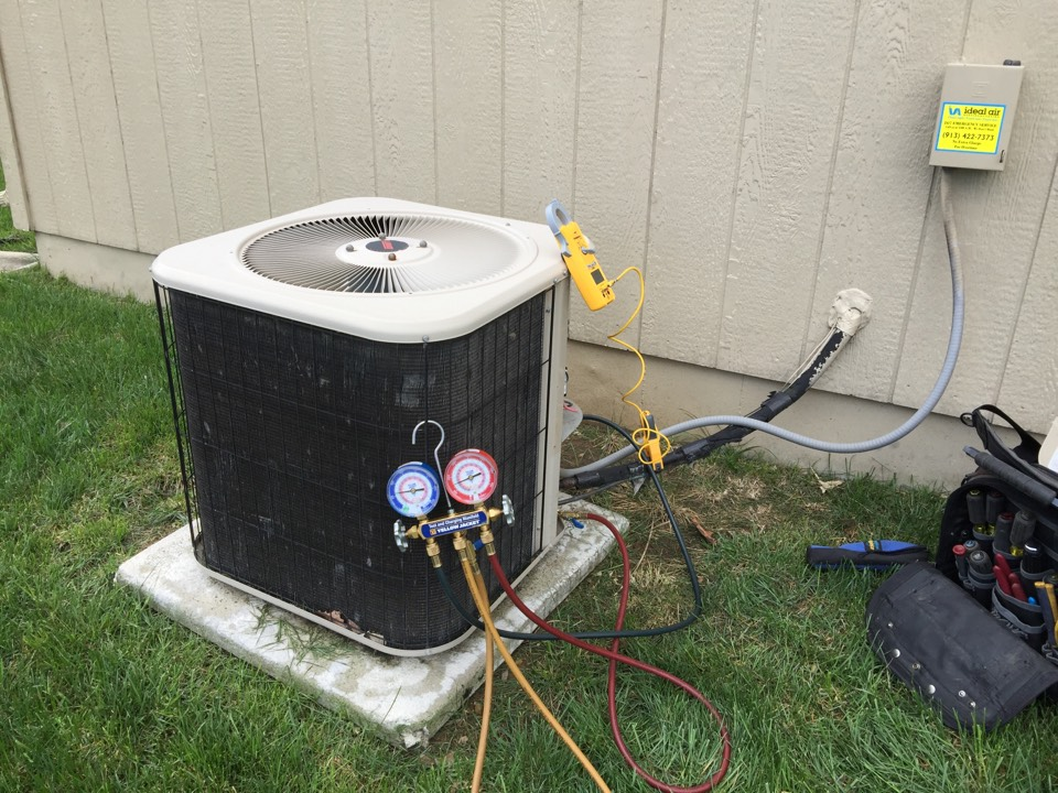 Olathe, KS - Performed tune up on 2004 Lennox air conditioner. Check electrical wiring and components. Check R22 Freon temperatures and pressures. Test equipment operation. Check filter. Add Freon to bring temperatures and pressures to correct levels. Wash condensing unit.