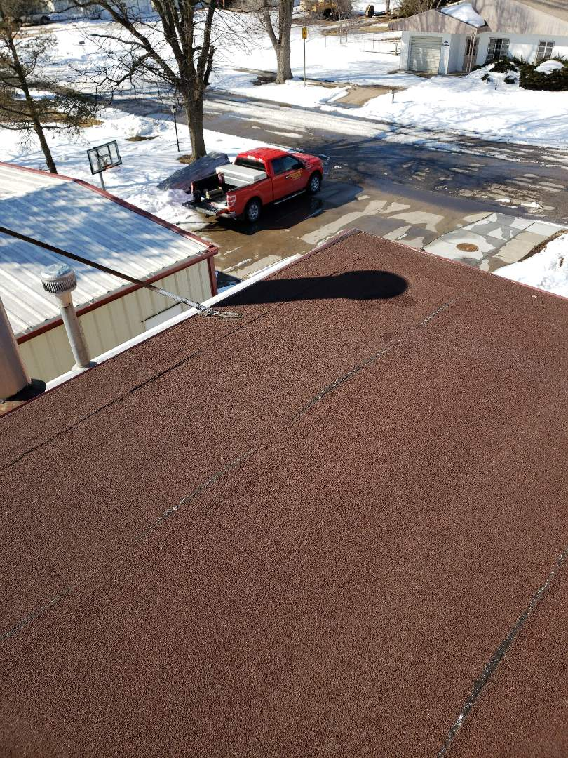 La Crosse, KS - With the winter storms come little leaks.  Give us a call today to get you in the dry.  This roof system will be good to go in no time!  #Roofmasters