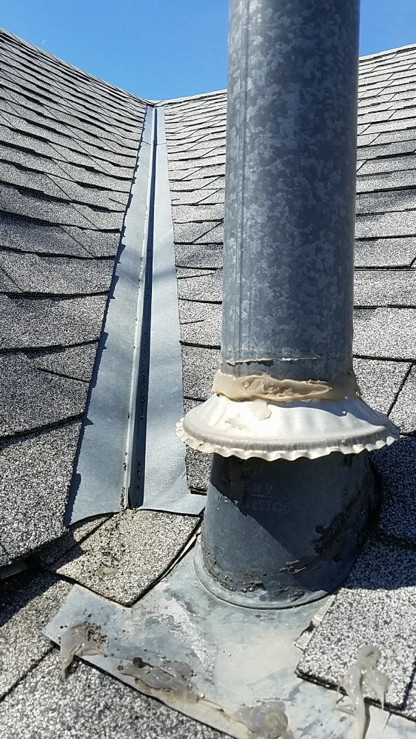 Ellis, KS - This is not an ideal location for a roof penetration but count on Roofmasters to take that extra step in protecting this location from any future leaks.  #Roofmasters #Roofing