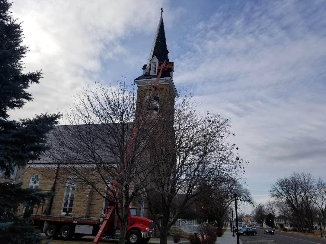 Saint Marys, KS - Final inspection for ecostar majestic slate tiles on immaculate conception church
