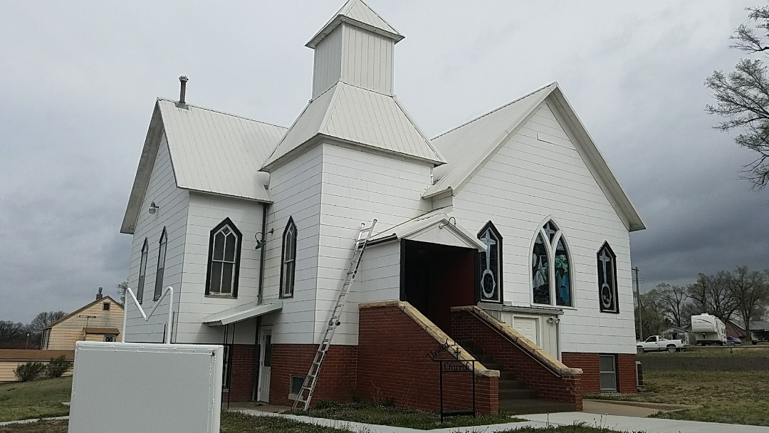 Natoma, KS - Working several jobs in Natoma today.  This 100 year old church is one of the landmarks of the town and with a little preventative roof maintenance it will be around another 100 years.