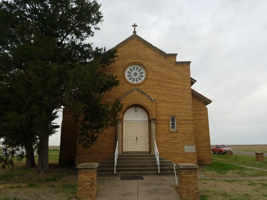 Bison, KS - This historic church has been standing since 1927.    Roofmasters will be completing some much needed maintenance on the facia and roof to make this beautiful landmark last another hundred years.