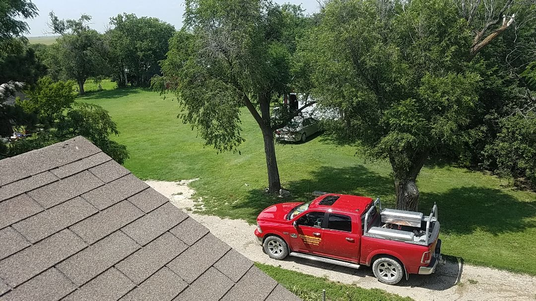 Natoma, KS - We're working on a roof measure for shingles and (or) 26 gauge metal on this beautiful 1900's farmhouse in rural western Kansas.  #Roofmasters #Roofing