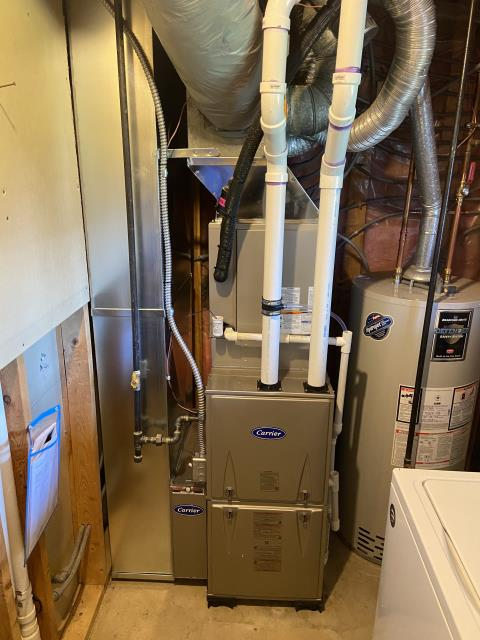 Hilliard, OH - I installed a Carrier media cabinet and made some modifications to the Carrier 96% 60,000 BTU gas furnace that we installed. I put the furnace on feet to accommodate the media cabinet and I replaced the existing drop. All good at this time.