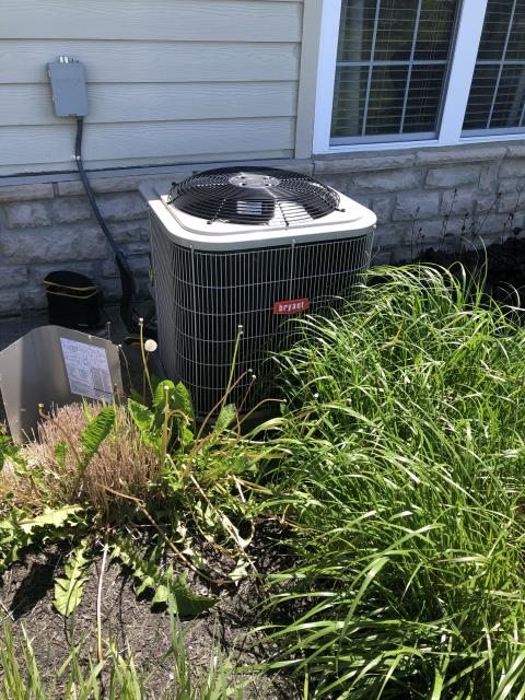 Powell, OH - I completed spring tune up on a Bryant heat pump.  I visually inspected the furnace.  I inspected the evaporator coil.  I checked the temperature difference across the coil.  Checked voltage and amps.   Inspected heat pump.  Checked refrigerant charge, voltages and amps.  I rinsed the condenser coils with water.  Cycled and monitored the system.  Operating normally at this time.