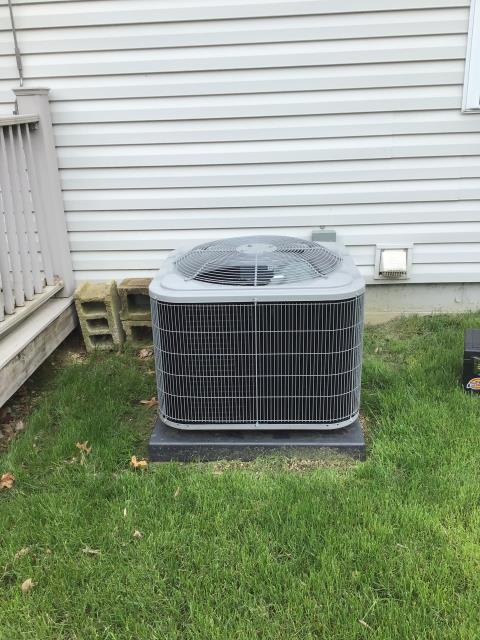 Groveport, OH - I completed scheduled maintenance spring tune up on a Carrier air conditioner.  I visually inspected the furnace.  Checked voltage and amps. I inspected the evaporator coil.  I checked the temperature difference across the coil.   Checked refrigerant charge, voltages and amps.  I rinsed the condenser coils with water.  Cycled and monitored the system.  Operating normally at this time.