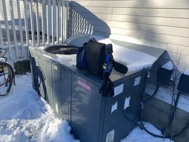 Lewis Center, OH - I completed a diagnostic service call on a Goodman air conditioner, I determined that the unit was low on refrigerant, went over options with the customer.