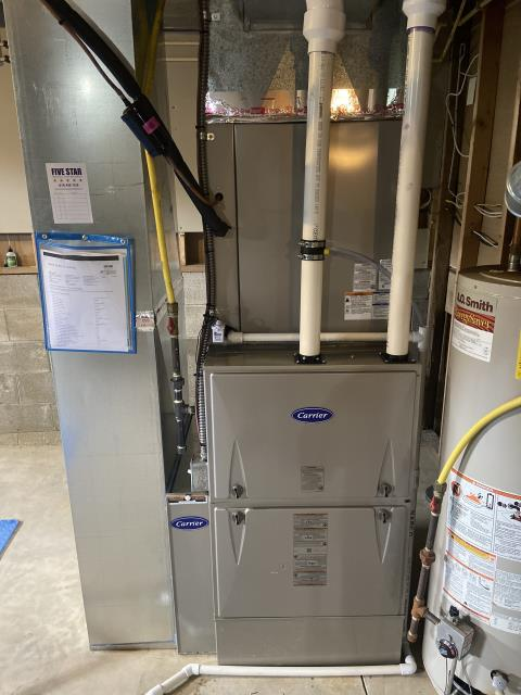 Hilliard, OH - I completed an installation inspection on a Carrier 96% 120,000 BTU Gas Furnace and a Carrier 16 SEER 5 Ton Air Conditioner. Completed installation checklist.  Cycled and monitored the system.  Operating normally at this time.