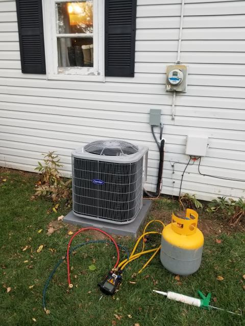 Delaware, OH - I completed scheduled maintenance spring tune up on a Carrier air conditioner.  I visually inspected the furnace.  Checked voltage and amps. I inspected the evaporator coil.  I checked the temperature difference across the coil.   Checked refrigerant charge, voltages and amps.  I rinsed the condenser coils with water.  Cycled and monitored the system.  Operating normally at this time.