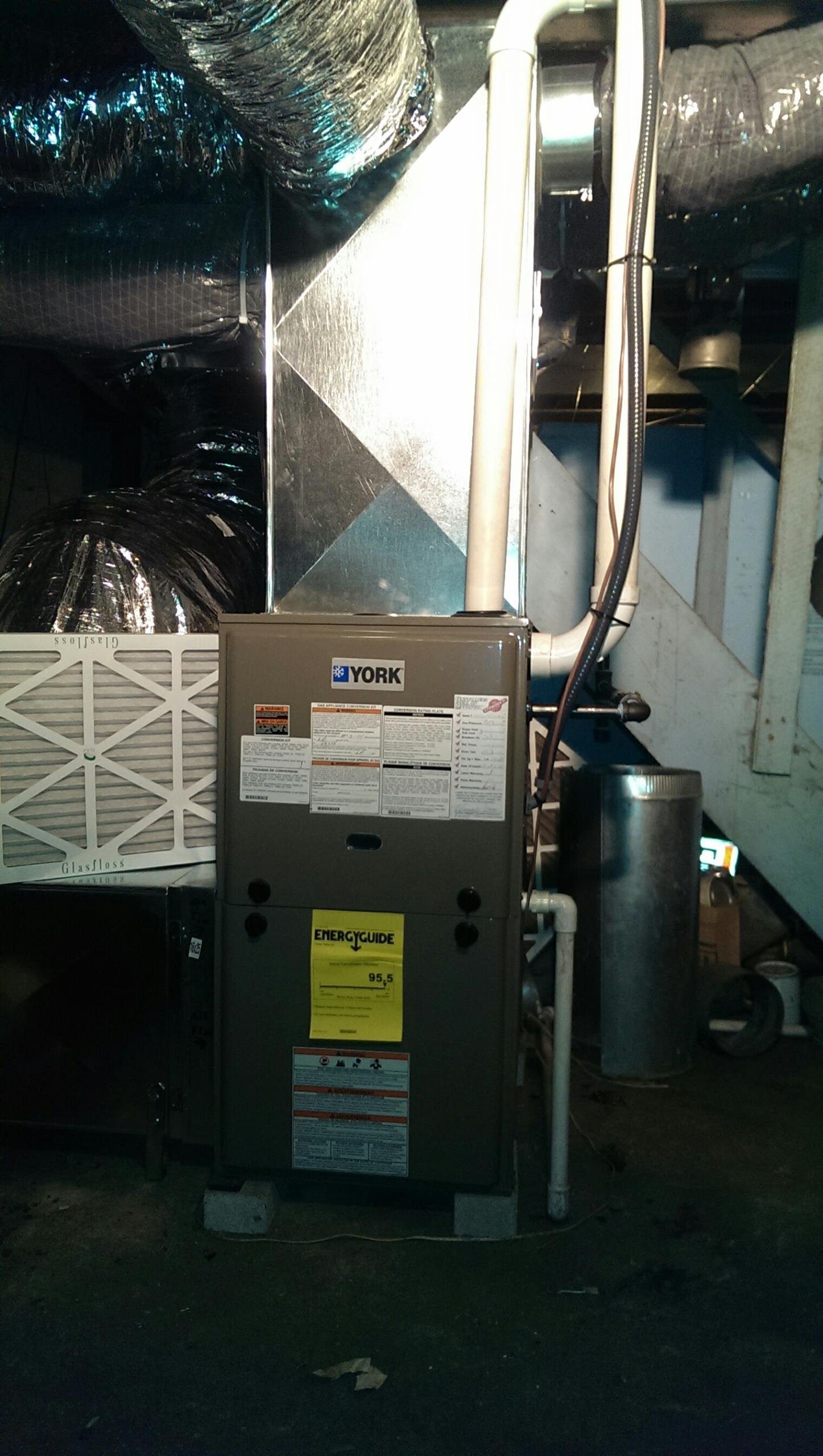 Somerville, OH - Installed new York 95% furnace