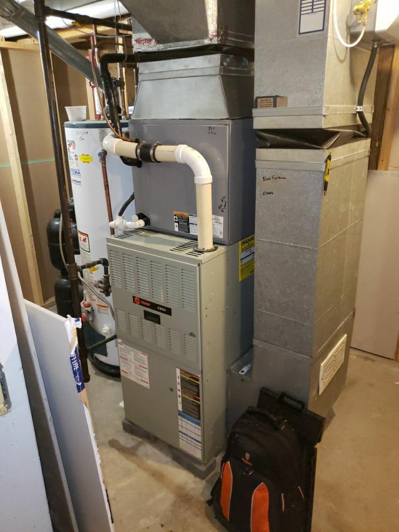 Repaired broken trane natural gas furnace