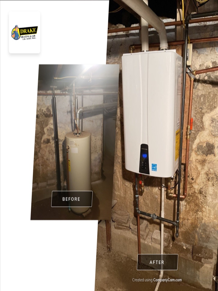 Installed tankless hot water heater