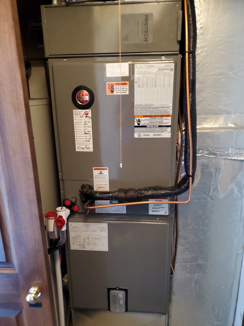 Installed new rheem air handler and heat pump with duct cleaning