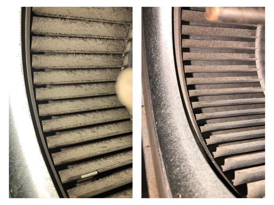 Eaton, OH - Clean Trane furnace blower wheel.