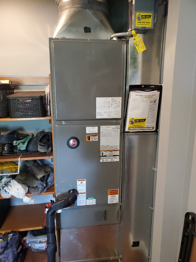 Installed new rheem air handler and air conditioning with duct work and insulation