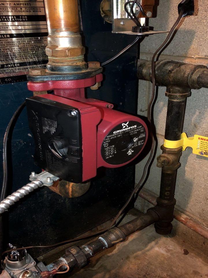 Boiler repair circulator pump, bleed, test