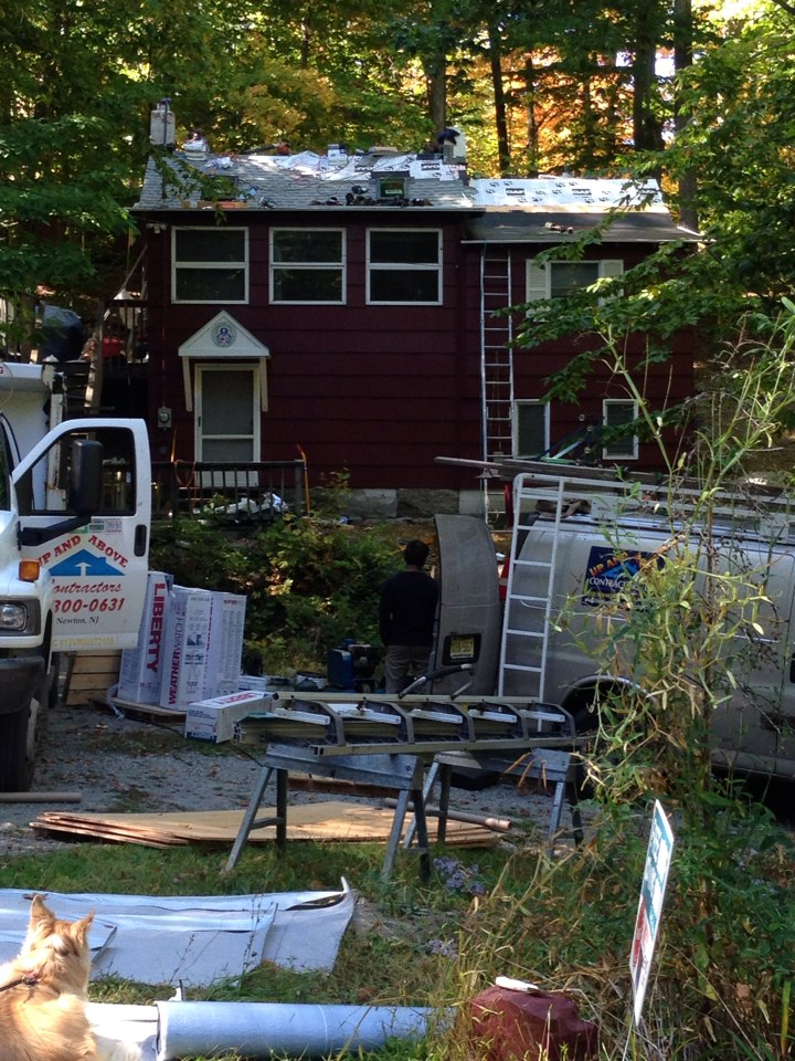 Sussex, NJ - No roof left behind roof -roof almost completed
