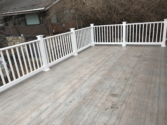 Installed Dec Tec  -  Weathered Oak  Superior wear protection, UV protection, waterproofing and walkability