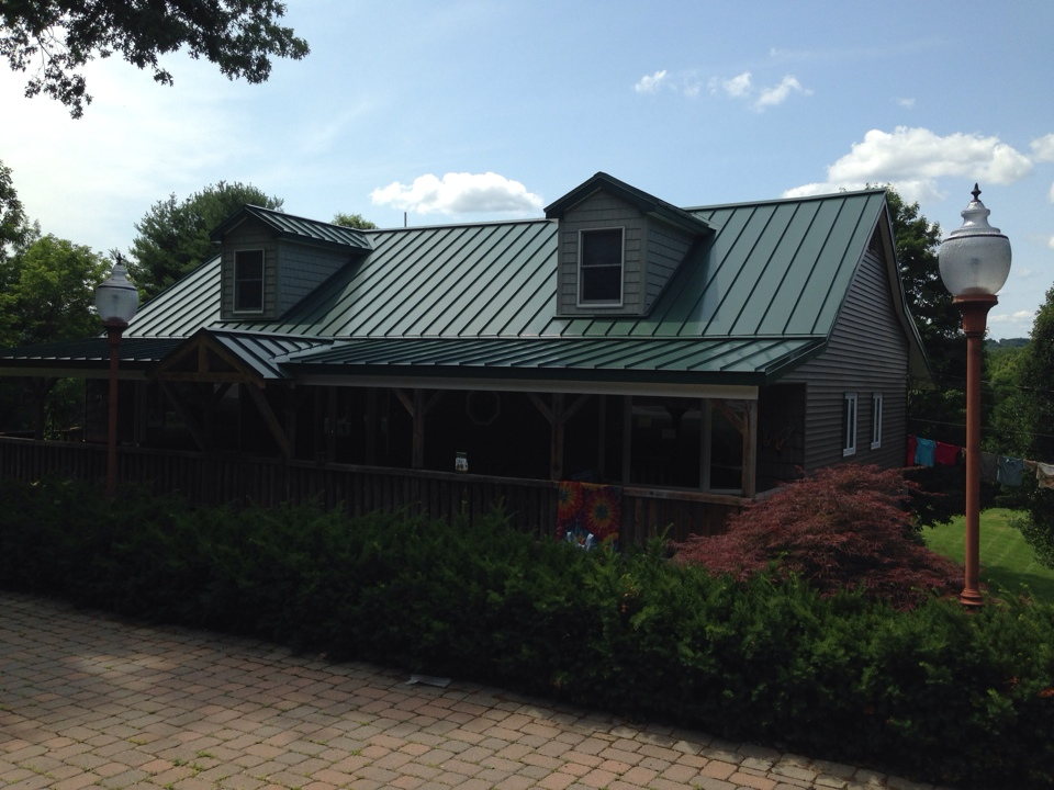 Forest green metal roof