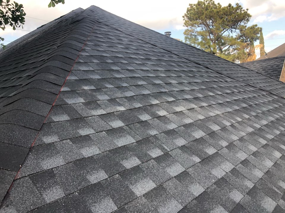 Houston, TX - Finishing up today's reroof, Timberline HDZ shingle in Charcoal. Give us a call today for your no cost estimate