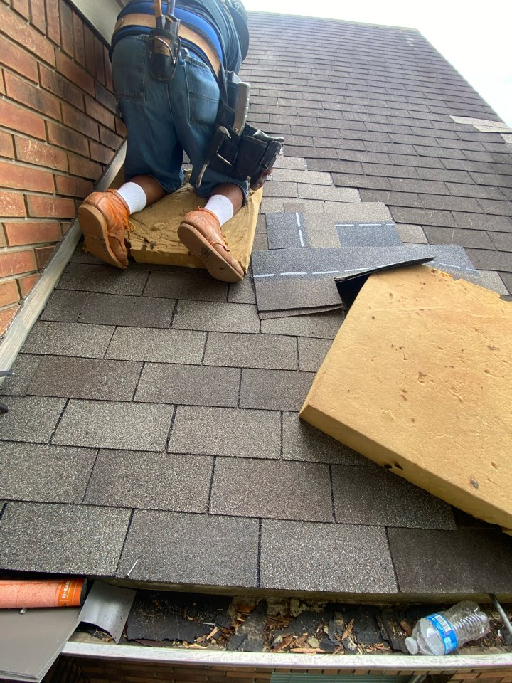Houston, TX - We are repairing a roof leak in Katy, Texas. During the new construction phase of building a house, we see time and time again other trades stacking materials on a brand new roof, leaving nail holes and causing damage that won't show up until later on down the road. It is important to get a roof inspection if you have not already done so, or approximately every 4-5 years.