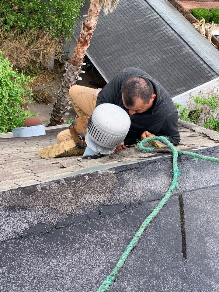 Houston, TX - Downtown today repairing leaks for a homeowner. It is important to have your roof looked at and maintenanced once every 3-5 years to avoid problems like this one