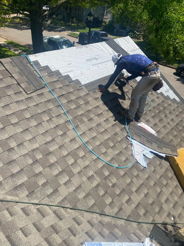 Houston, TX - A new day and a new roof. Today, we are removing the old roofing shingles and underlayment from the roof. This customer had many home repairs on the to-do list, but knows their roof performance is one of the most important factors to protecting the rest of the house. We came out and provided an honest, competitive proposal to meet the needs of our home owner. We decided to go with a reputable GAF Timberline HDZ lifetime architectural shingle with a System Plus manufacturer's warranty.