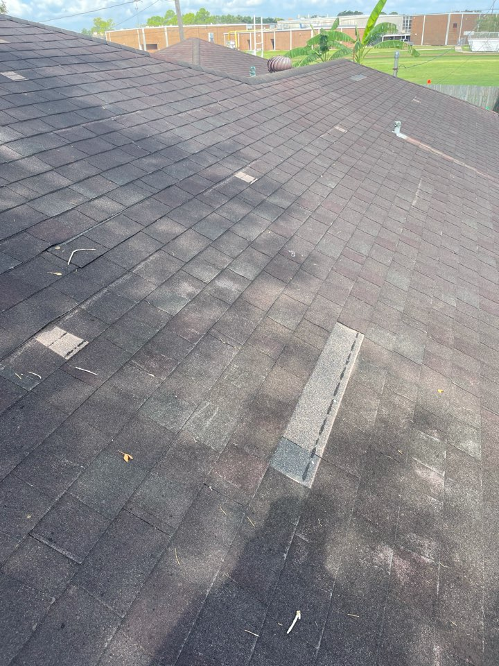 Houston, TX - Have you had your roof inspected after the storm? We are still finding wind damage. We will be replacing this roof with help from the insurance.