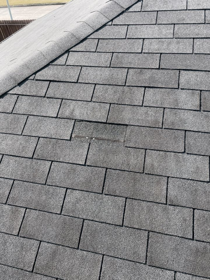 Houston, TX - If you have missing roof tiles, you may already be experiencing leaks inside the home. This homeowner only had a couple blown off shingles. Punum Roofing provided the minimum estimate amount and then replaced the two shingles in the same day.