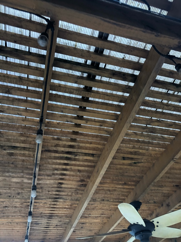Katy, TX - We are out inspecting a back patio will be installing a standing seam metal roof on.