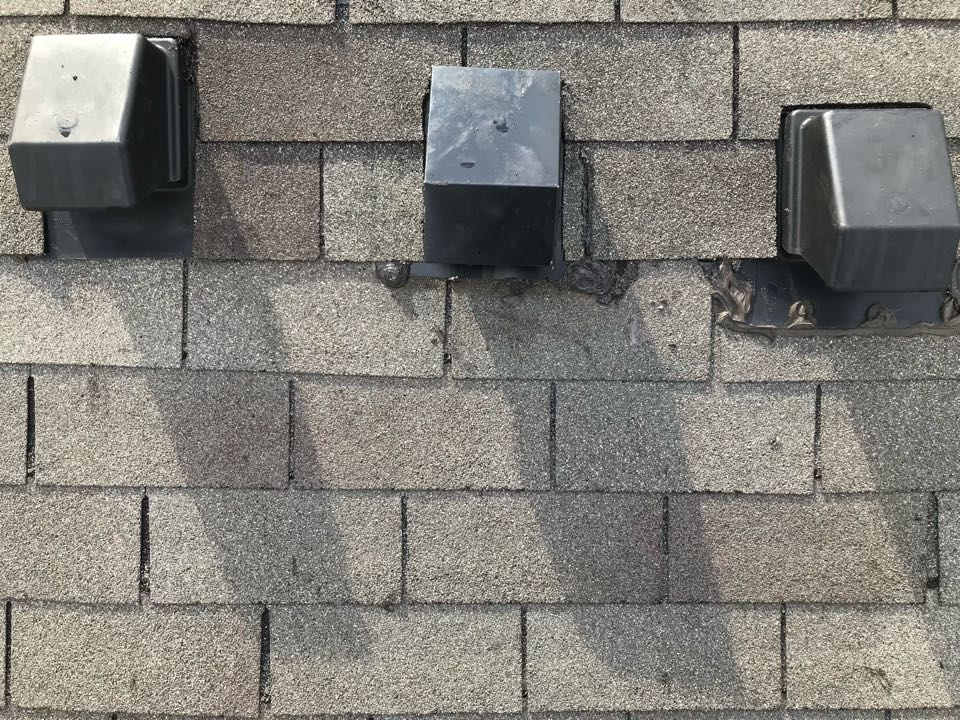 Houston, TX - This homeowner was experiencing a leak at an exhaust vent. After our inspection, we found a crack in the vent. We replaced the vent itself as well as the surrounding shingles to prevent any issues with the old roofing material.