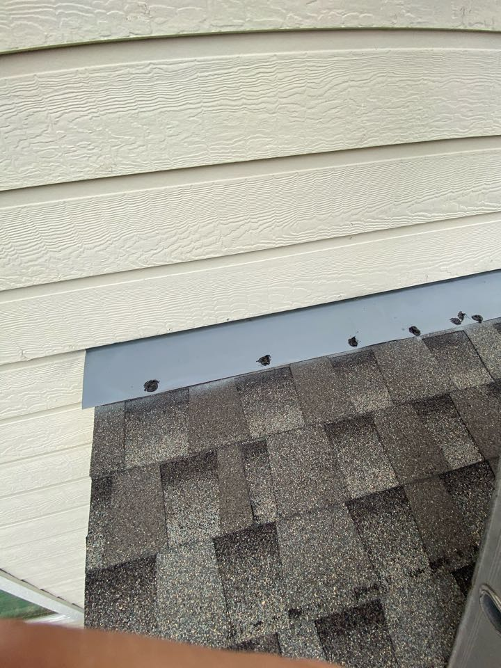 Cypress, TX - We are in Cypress, Tx finishing a roof maintenance repair. All visible flashing details need to be fastened and sealed to protect the nails from rusting and allowing water to seep through over time.