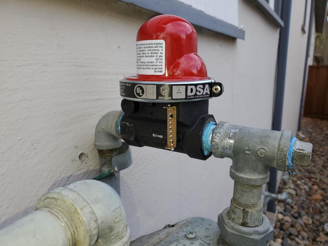 Davis, CA - Installed an earthquake valve