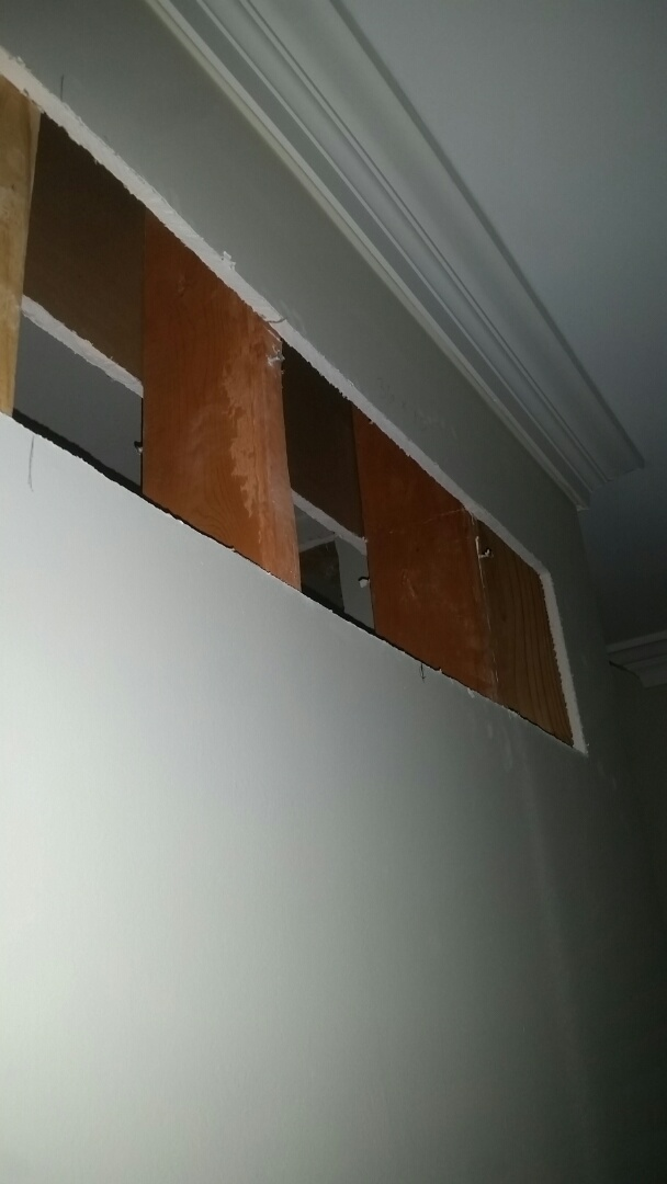 Dallas, TX - Cut in return holes for plaster grills at a residential remodel in Dallas.