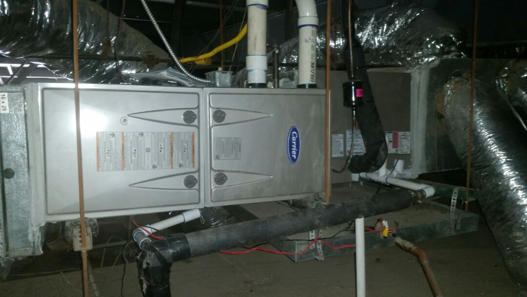 Arlington, TX - Installed 3 ton Carrier 90% furnace system at a commercial business in Arlington.