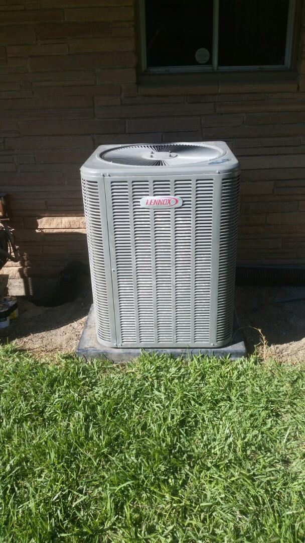 Aledo, TX - Relocated condenser at a home in Aledo.