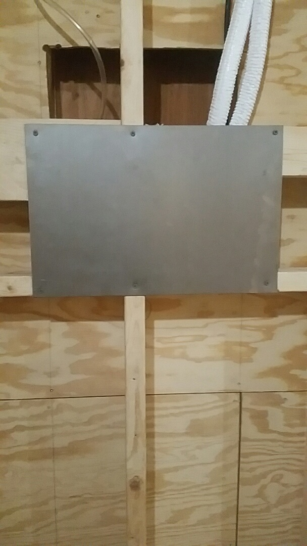Fort Worth, TX - Installed metal plate to protect rough-in box at a residential remodel in Westover Hills.